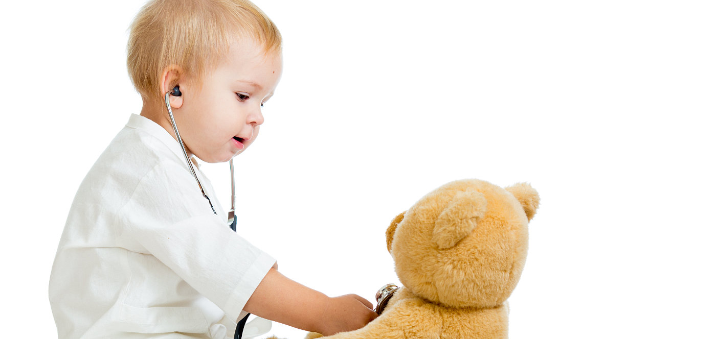 baby holding a stethoscope